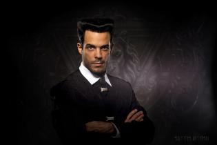 Man portrait studio lighting composite background