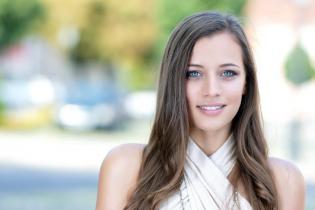 Sparkling blue eyes outdoor beauty portrait